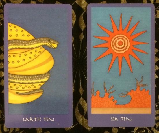 Earth Ten; Water Ten - Minoan Tarot by Ellen Lorenzi-Prince
