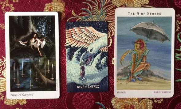 Nine of Swords - Elora Tarot, Prisma Visions Tarot & Next World Tarot