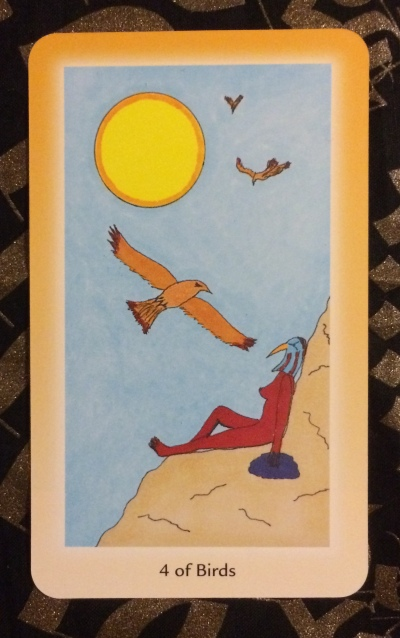 4 of Birds - Shining Tribe Tarot by Rachel Pollack