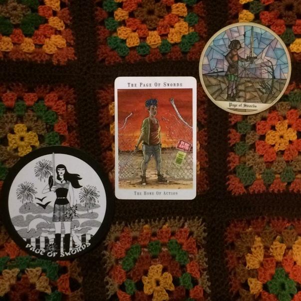 Pages of Swords - The Gorgon's Tarot, Next World Tarot, Tarot of the Cloisters