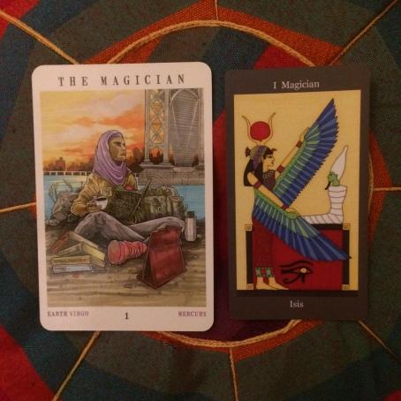 The Magician - Next World Tarot by Cristy C. Road and Dark Goddess Tarot by Ellen Lorenzi-Prince