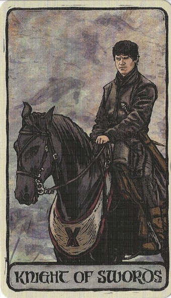 Knight of Swords - Game of Thrones Tarot by Michael Morris (Design), Liz Dean (Text) & Craig Coss (Illustrations).jpg