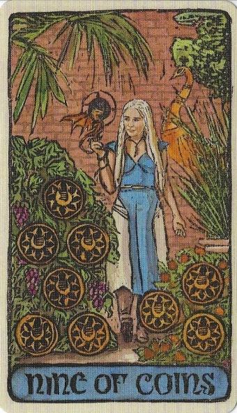 Nine of Coins - Game of Thrones Tarot by Michael Morris (Design), Liz Dean (Text) & Craig Coss (Illustrations).jpg