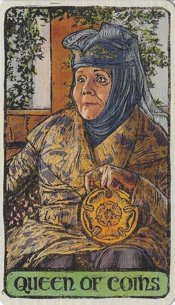 Queen of Coins - Game of Thrones Tarot by Michael Morris (Design), Liz Dean (Text) & Craig Coss (Illustrations).jpg