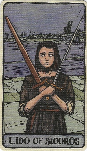 Two of Swords - Game of Thrones Tarot by Michael Morris (Design), Liz Dean (Text) & Craig Coss (Illustrations).jpg