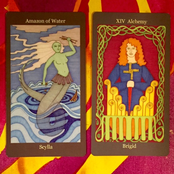 Amazonn of Water ~ Scylla & Alchemy (Temperance) ~ Brigid - Dark Goddess Tarot by Ellen Lorenzi-Prince