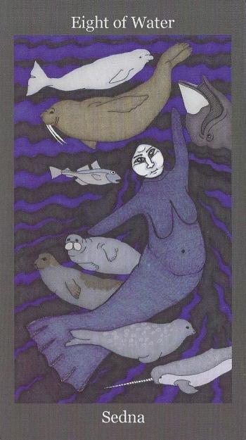 Eight of Water ~ Sedna - Dark Goddess Tarot by Ellen Lorenzi-Prince