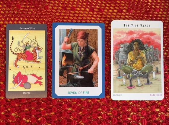 Seven of Wands - Dark Goddess Tarot, Gaian Tarot & Next World Tarot