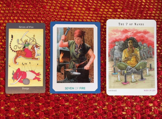 Seven of Wands - Dark Goddess Tarot, Gaian Tarot & Next World Tarot