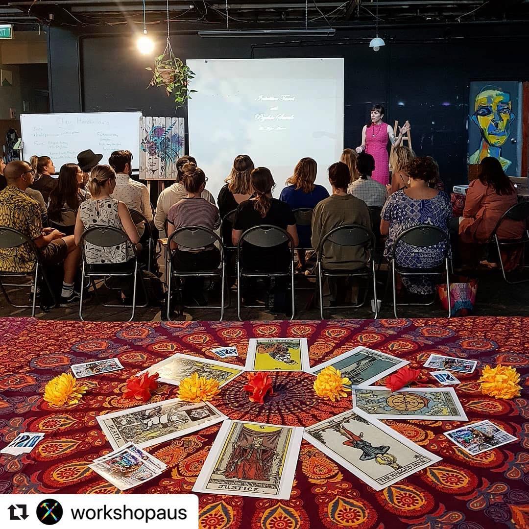 psychic sarah tarot class at work-shop