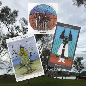 Eight of Swords - Next World Tarot; Tarot of the Cloisters; Dark Goddess Tarot