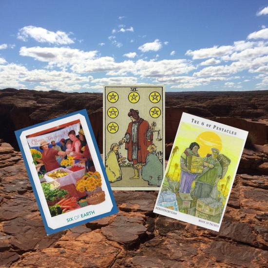 Six of Pentacles - Gaian Tarot; Smith-Waite Commemorative Tarot Deck; Next World Tarot II