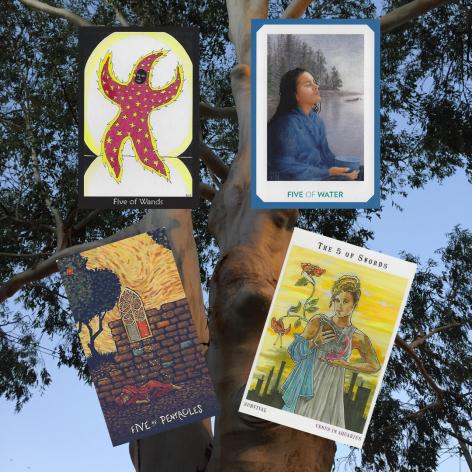 Five of Pentacles - Prisma Visions Tarot, Five of Wands - Tarot of the Crone, Five of Water - Gaian Tarot, Five of Swords - Next World Tarot